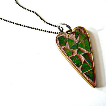 Mosaic Heart Pendant // Art Pendant // Stained Glass // Green // Pink // Irridescent // Wearable Art