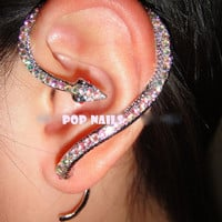 AB snake statue Ear Cuff Earrings Swarovski Crystals