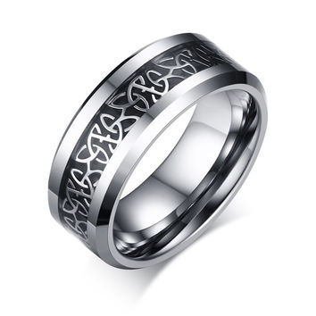 Tungsten Celtic Trinity Knot Biker Wedding Band