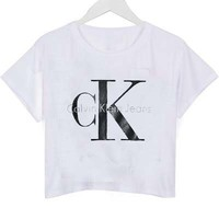 calvin klein jeans crop shirt graphic print tee for women