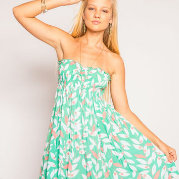 Tiare Hawaii Lanikai Short Dress Green Petals