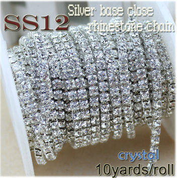new deals charming crystal rhinestone diy beauty SS12 10YARDS/ROLL 3mm fashion accessories clear close rhinestone cup chain