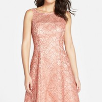 Women's Aidan Mattox Embroidered Lace Fit & Flare Dress,