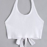 Halter Criss Cross Ribbed Crop Top