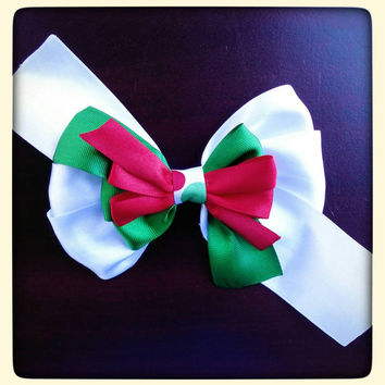 Christmas stacked bow with red white green ribbon for girls toddlers babies