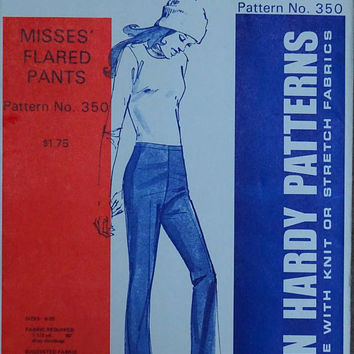 Pants Pattern, Jean Hardy, Bell Bottoms, 1972 Uncut, Stretch Fabric Suitable, Fashion Flared Pants