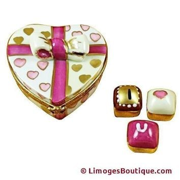 PINK HEART WITH THREE CHOCOLATES LIMOGES BOX