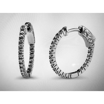 Perfect Inside Out .66TCW Russian Lab Diamond Hoop Pave Earrings