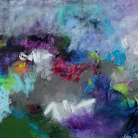 """TAKE 25% SALE CODE Abstract Expressionist Abstract Painting on Canvas """"A Land I Know and Search For"""""""