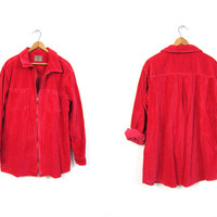 Red Corduroy Jacket 90s Grunge Cotton Ribbed Shirt Long Zip Up Coat with POCKETS 1990s Vintage Slouchy Coat DELLS Women's Size Large