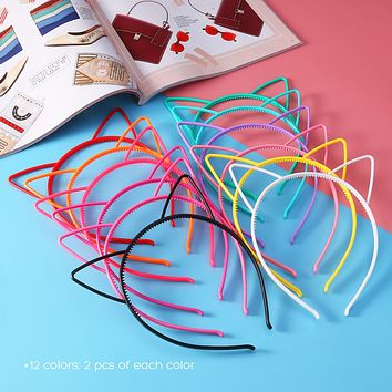 24pcs Cat Ear Headband 0.6cm ABS Plastic Hair Hoop Headpiece for Party Daily Hairstyle Decoration (12-Color) For Women Kids