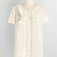 Darling Short Sleeves Everyday Elegant Top in Cream by ModCloth