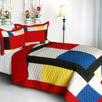 Moving Vermicelli Quilted Patchwork Geometric Quilt Set Full/Queen