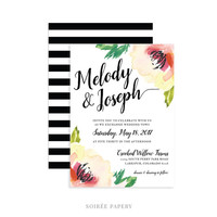 Watercolor Floral Wedding Invitation | Spring Wedding, Water Color Garden | Melody
