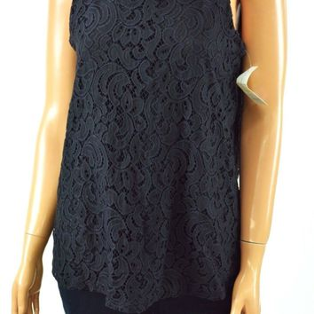 Charter Club Women's Scoop Neck Deep-Black Sleeveless Lace Blouse Top M
