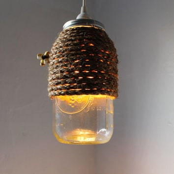 The Hive - Half Gallon Mason Jar Pendant Light - UpCycled Handcrafted BootsNGus Lighting Fixture Wrapped in Rope Design
