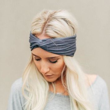 1 pc Fashion Women knotted hair band cotton Yoga Sports Elastic headband