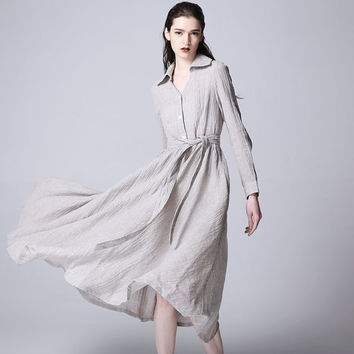 Gray linen dress maxi dress women dress (1166)