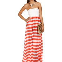 Coral Sleeveless Stripe Maxi Dress
