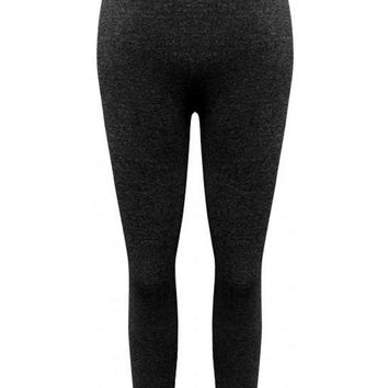 Girls Fleece Leggings, Charcoal