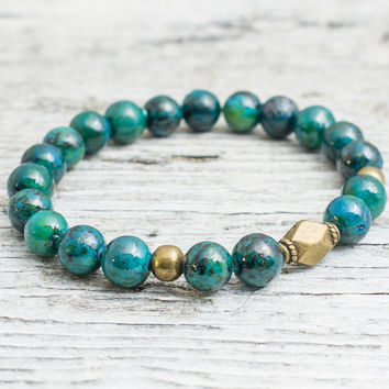 Green phoenix stone beaded stretchy bracelet with bronze beads, mens bracelet, womens bracelet