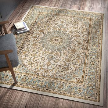 6109 Ivory Blue Medallion Persian Area Rugs
