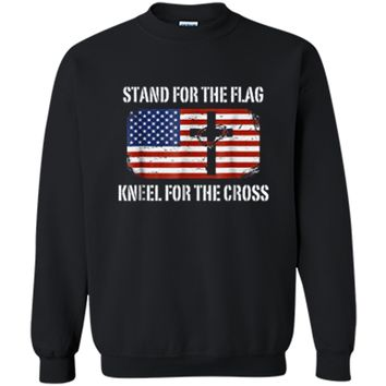 Patriotic Stand For The Flag Kneel For The Cross  Printed Crewneck Pullover Sweatshirt