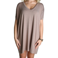 Taupe Piko Tunic V-Neck Short Sleeve Dress