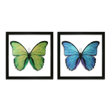 Butterfly Glass Wall Art (Set of 2) (8566) - Illuminada