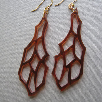 Handcut Tortoise Shell Wing Earrings