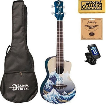 Luna Great Wave Concert Ukulele with Gig Bag, UKE GWC, Lanikai CO-UT Tuner, EXTRA set of Aquila 7U Nylgut Strings & TMS Polishing Cloth