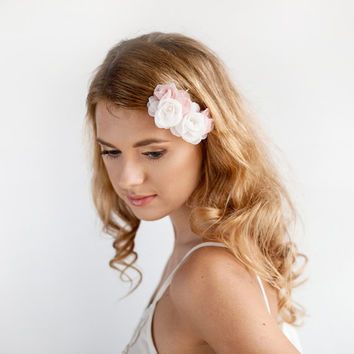 Wedding Hair Piece Organza - Floral Hairpiece - Blush Pink - Double Flower Hair Pins