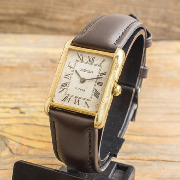 Vintage Cornavin mens watch gold plated gdr watch