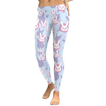 D.VA Game Rabbit Cosplay Digital Print Leggings