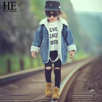 Girls Jeans Jacket Winter Fashion Kids Coat Girl Clothes Lamb Wool Cowboy Cotton Clothes children Clothing