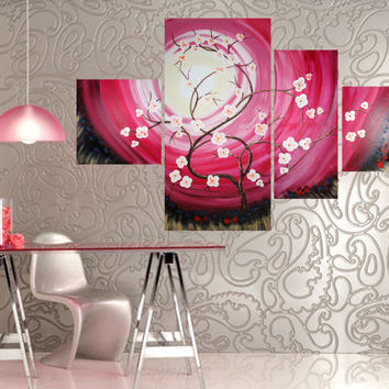 Big PAINTING Gift Ideas For Her Art ROSE SAKURA Spring Decor Sunrise Pink Cherry  Blossom Tree