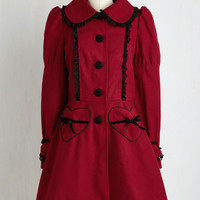 Vintage Inspired Long Frill Power Coat