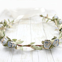 Blue Gold Rosebuds Floral Crown Wedding, Flower Crown. Paper Flowers, Spring, Something Blue, Hair Wreath, Bridal, Hair Accessories,