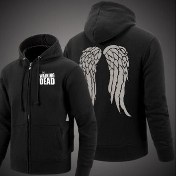 The Walking Dead Zombie Daryl Dixon Wings Cotton hoodie with a zipper Jackets Coats brand clothing fashion drake men 2017 autumn