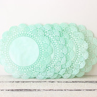Paper Doilies, Mint Green 5 Inch French Lace Doilies, Wedding Decoration, Vintage Wedding, Lace Doilies, Bridal Showers, Mint Baby Shower