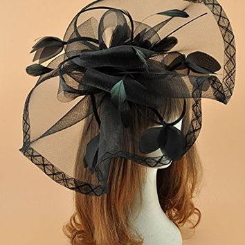 Women's Feather Fascinator Cocktail Gauze Hair Clip Hat For Tee Party Wedding