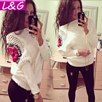 New Fashion Women Sweater Hot Selling Casual Rose Print Crochet Sweaters Winter Knitted Pullover Women Clothing