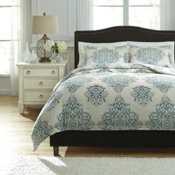 Q728023Q Fairholm Queen Duvet Cover Set - Turquoise - Free Shipping!