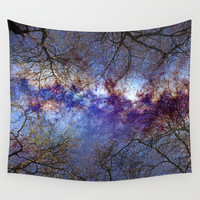 Fantasy stars. Milkyway through the trees. Wall Tapestry by Guido Montañés