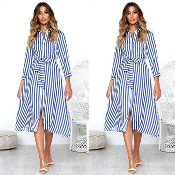 Women Vintage Sashes Blue Striped A-line Party Dress Three Quarter Sleeve Turn Down Collar Casual Dress 2019 Summer Women Dress