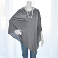 Light Heather Grey Poncho/ Lightweight Nursing Cover/ Lightweight Shawl / One shoulder Boho Top / New Mom Gift / Custom Poncho