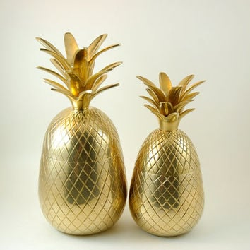 Two Vintage Brass Pineapple Boxes, 7 5/8 Inches Tall and 9 1/2 Inches Tall, Candle Holders, Trinket Boxes, Brass Pineapple Containers