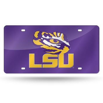 LSU Tigers NCAA Laser Cut License Plate Cover Colored