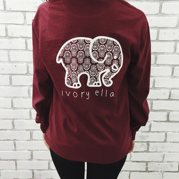 Pocketed Maroon White Hamsa Print