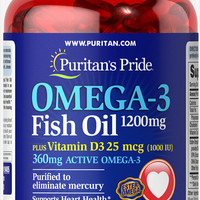 Omega 3 Fish Oil 1200 mg plus Vitamin D3 1000 IU 90 Softgels | Omega 3 Products Supplements | Puritan's Pride